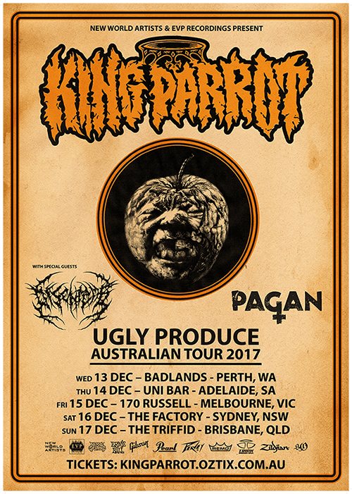 King Parrot Ugly Produce Australian Tour 2017